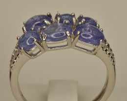 Natural Tanzanite Cabochons Ring With White Zircons in 925 Silver