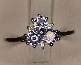 Natural Tanzanite Round Gemstones Ring With Silver 925