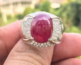 Glass filled Ruby Ring Cabochon with Zircon & Silver 925