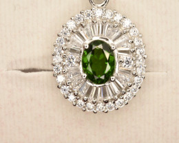 Natural Chrome Diopside  Pendant with Zircons in 925 Silver