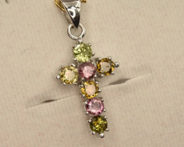 Natural Tourmaline Cross Pendant With Silver 925