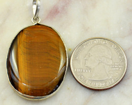 Genuine 46.00 Cts Golden Tiger Eye Pendant