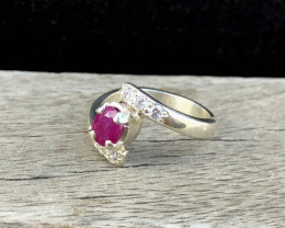 21 Ct Natural Red Ruby Ring With White Zircons Solid Silver