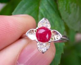 Natural Ruby Cabochon Ring.