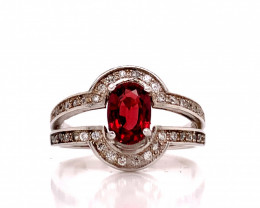 red Spinel Transparent white Rhodium 925 Sterling silver ring