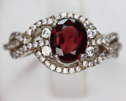 red Spinel 1.27 cts Transparent white Rhodium 925 Sterling silver ring