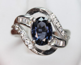 Naturalblue Spinel 1.61 ct Transparent  white Rhodium 925 Sterling silver r