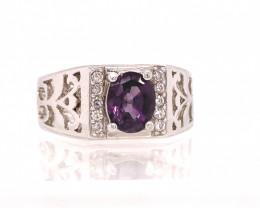 purpal Spinel 1.92 cts Transparent white Rhodium 925 Sterling silver ring