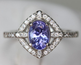 1.22 cts Natural Royal Blue Tanzanite Transparent in Handmade 925 Sterling