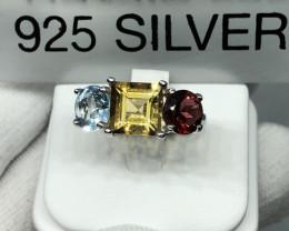 Natural Citrine Blue Topaz And Garnet 925 Silver Ring