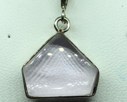 Natural Kunzite Hand Made 925 Silver Pendant Plus Chain