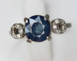 Lovely Blue Sapphire 2.09 cts Transparent White Rhodium 925 Sterling silver