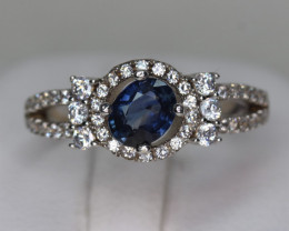 Lovely Natural Royal Blue Sapphire  Transparent White Rhodium 925 Sterling