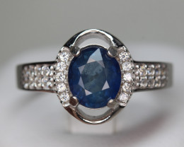 Lovely Natural Royal Blue Sapphire 2.07cts Transparent White Rhodium 925 St