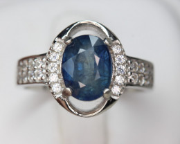 Natural Royal Blue Sapphire 2.22 cts Transparent White Rhodium 925 Sterling