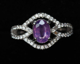 Lovely Natural pink Sapphire 1.30 ct Transparent White Rhodium 925 Sterlin