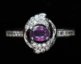Lovely Natural pink Sapphire Transparent White Rhodium 925 Sterling silve