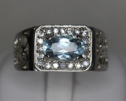 1.78 cts  Natural Aquamarine  Transparent   White Rhodium coated  925 Sterl
