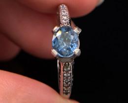 1.06 cts Natural blue Aquamarine Transparent White Rhodium coated925 S