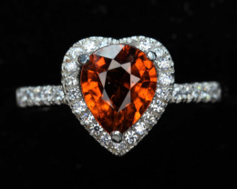 Rare Natural 1.67 cts hessonite Garnet Transparent   White Rhodium coated