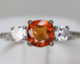 Natural 1.86 cts hessonite Garnet Transparent White Rhodium coated 925 Ste