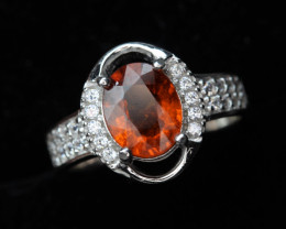 Rare Natural 1.72 cts hessonite Garnet Transparent White Rhodium coated 925