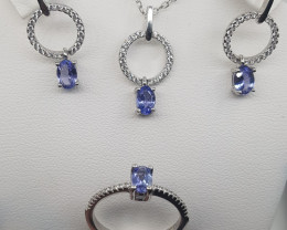 Natural Tanzanite Set with CZ