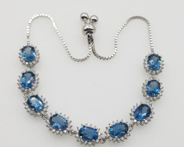 Top London Blue Topaz Bracelet with CZ in Silver 925.