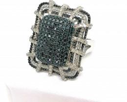 Blue and White Diamond Ring 1.00 TCW