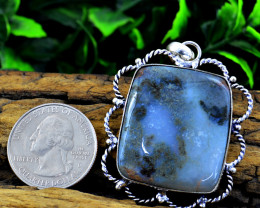 Genuine 79.00 Cts Moss Agate Tibet Silver Pendant
