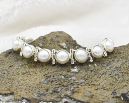 PEARL BRACELET NATURAL GEM 925 STERLING SILVER JB183