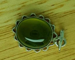 18.45 CT Rare Idocrase 925 Silver Pendant.