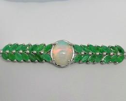Opal and Emerald Bolo Bracelet 3.00 TCW