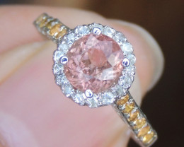"""Padparadscha Color Tourmaline"" Ring with Sapphires :-)"