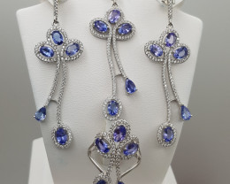Natural Tanzanite Ring + Earrings with CZ in Silver 925