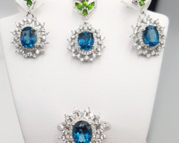 Natural Topaz & Peridot Set with CZ