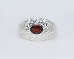 GARNET RING 925 STERLING SILVER NATURAL GEMSTONE JR565