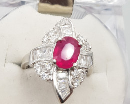 Glass filled Ruby Ring with White CZ