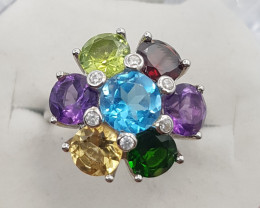 Mix Stones Ring With Silver 925