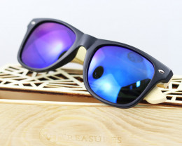 Square Vintage Wood Eyewear BLUE - Sunglasses - SUN 16