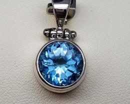 21.95 CT Blue Topaz 925 Silver Pendant
