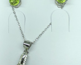 Natural Peridot Full Set With CZ 925 Silver Plus Chain