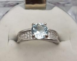 Natural Aquamarine And Zircon  Ring Beautiful Color