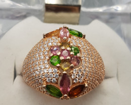 Natural Mix Stones Ring with CZ.