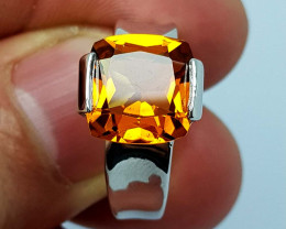 28 CT Madeira Citrine 925 Silver Ring