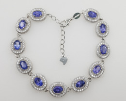 Natural Tanzanite Bracelet with White Zircons