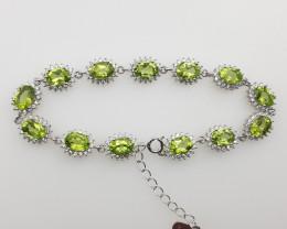 Stunning Peridot Bracelet With CZ