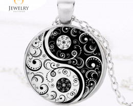 yin yang necklace tai ji shape black and white OPJ 2585