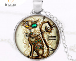 Steampunk Cat Pendant Steampunk Clock    OPJ 2598