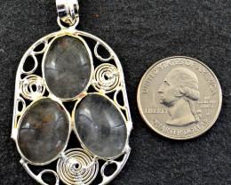 Genuine 55.00 Cts Rutile Quartz Tibet Silver Pendant